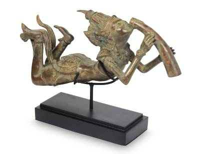 Bronze sculpture, 'Krishna's Flute of Love' - Bronze Sculpture with Stand Hinduism Art