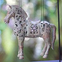 Bronze sculpture, 'Sumbawa Pony' - Horse Bronze Sculpture with Stand