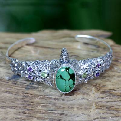 Amethyst and peridot cuff bracelet, 'Turquoise Turtle' - Balinese Turtle Cuff Bracelet