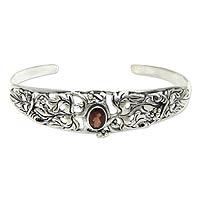 Garnet cuff bracelet, 'Crimson Vine'
