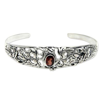 Garnet cuff bracelet, 'Crimson Vine' - Balinese Handcrafted Garnet and Silver Cuff Bracelet