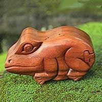 Wood puzzle box, 'Balinese Frog' - Handcrafted Wooden Frog Puzzle Box from Bali