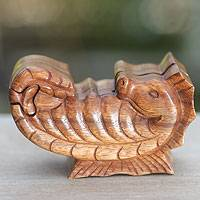 Wood puzzle box, 'Balinese Seahorse' - Hand Carved Balinese Wood Puzzle Box