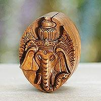 Wood puzzle box, 'Auspicious Ganesha' - Hand Carved Balinese Wood Puzzle Box