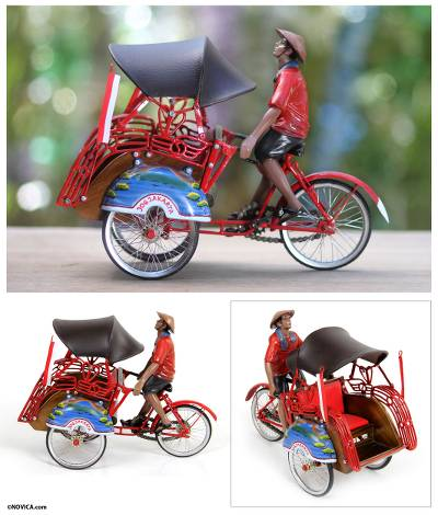 Wood and iron sculpture, 'Jogjakarta Becak Taxi' - Javanese Handcrafted Becak Taxi Sculpture