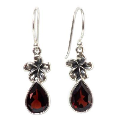 Garnet dangle earrings, 'Plumeria Dew' - Garnet Floral Earrings from Indonesia