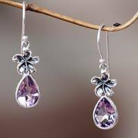 Amethyst dangle earrings, 'Plumeria Dew' - Hand Made Amethyst Floral Earrings