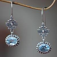 Blue topaz dangle earrings, 'Serene Gaze' - Handcrafted Blue Topaz and Sterling Silver Earrings