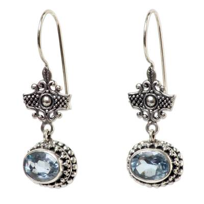 Handcrafted Blue Topaz and Sterling Silver Earrings