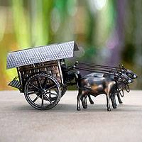 Iron sculpture, 'Javanese Oxcart' - Indonesian Mixed Metal Sculpture