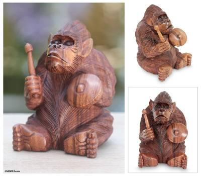 Wood statuette, Orangutan Plays the Kempur