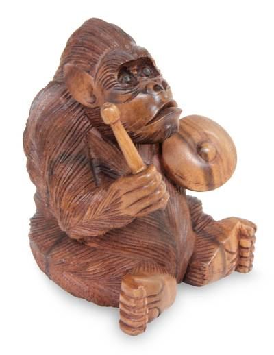 Wood statuette, 'Orangutan Plays the Kempur' - Vivid Wood Sculpture Carved by Hand