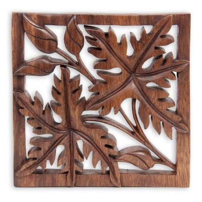 Wood wall panel, 'Forest Sonnet' - Handcrafted Leaf Relief Panel
