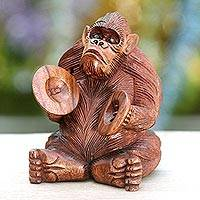 Wood statuette, 'Orangutan Plays the Ceng-ceng' - Hand-carved Sculpture from Bali