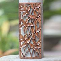 Wood wall panel, 'Forest Shrubs' - Balinese Forest Motif Relief Panel