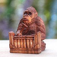 Wood statuette, 'Orangutan Plays the Gangsa' - Hand-carved Wood Sculpture from Bali