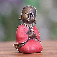 Bronze statuette, 'Praying Little Buddha' - Aged Bronze Statuette from Java Buddhism Art