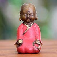 Bronze statuette, 'Meditating Little Buddha' - Aged Bronze Statuette from Java Buddhism Art