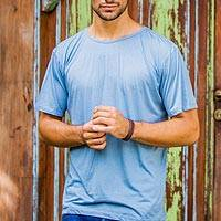 Men's cotton founder's t-shirt, 'Blue Kuta Breeze' - Cotton Jersey Founder's Blue T-shirt for Men