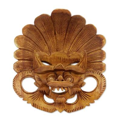 Wood mask, 'Balinese Protector' - Hand Carved Bhoma Wall Mask