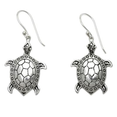 Sterling silver dangle earrings, 'Turtle of the Sea' - Handcrafted Silver Turtle Earrings