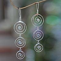 Sterling silver chandelier earrings, 'Tropical Storm'