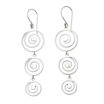 Sterling silver chandelier earrings, 'Tropical Storm' - Artisan Crafted Sterling Silver Chandelier Earrings