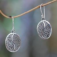 Sterling silver dangle earrings, 'Seeds of Beauty' - Handcrafted Silver Granule Earrings from Bali