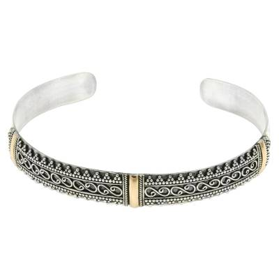 Gold accent cuff bracelet, 'Balinese Lace' - Sterling Silver Cuff Bracelet with 18k Gold Accents