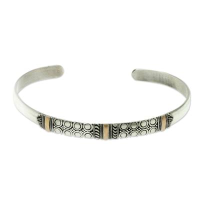 Gold accent cuff bracelet, 'Hypnotic Moon' - Balinese Silver Cuff Bracelet with 18k Gold Accents