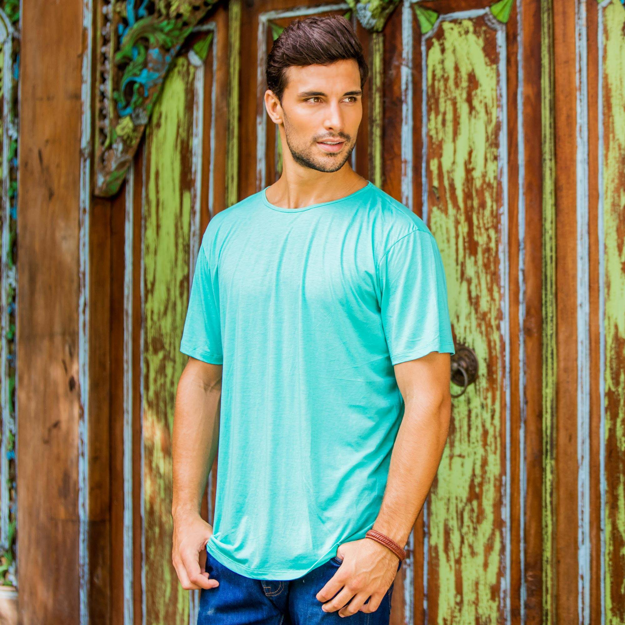 Cotton Jersey Founder's T-shirt for Men in Green, 'Green Kuta Breeze'