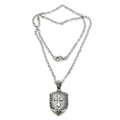 Men's sterling silver cross necklace, 'Holy Shield' - Artisan Crafted Sterling Silver Necklace for Men