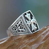 Men's sterling silver signet ring, 'Brave Knight' - Cross Signet Sterling Silver Ring for Men