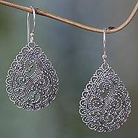 Sterling silver dangle earrings, 'Divine Femininity' - Fair Trade Sterling Silver Earrings