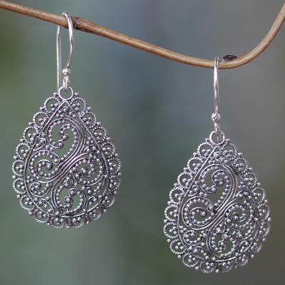 Sterling silver dangle earrings, 'Divine Femininity' - Fair Trade Sterling Silver Earrings