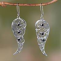 Onyx dangle earrings, 'Fairy Wings' - Original Sterling Silver Earrings with Onyx Gems