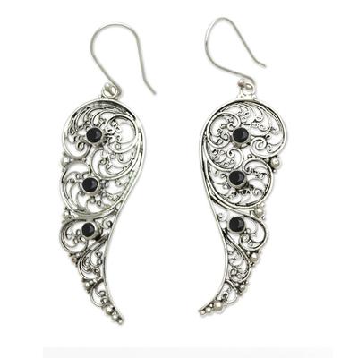 Original Sterling Silver Earrings with Onyx Gems