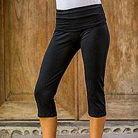 Cotton capri yoga pants, 'Kintamani in Black' - Black Cotton Yoga Exercise Capri Pants from Bali