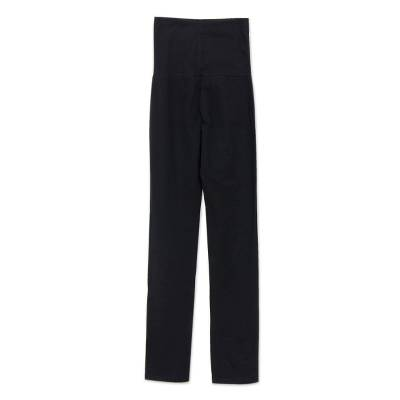 Cotton yoga full length pants, 'Kintamani in Black' - Black Cotton Yoga Full Length Exercise Pants from Bali