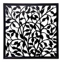 Wood wall panel, 'Midnight Vines' - Balinese Handcrafted Black Wood Wall Panel