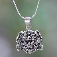 Sterling silver pendant necklace, 'Boma Amulet'