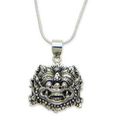 Sterling silver pendant necklace, 'Boma Amulet' - Sterling Silver Hindu Protective Necklace