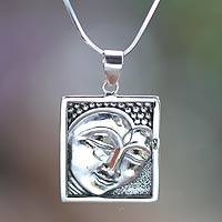 Sterling silver pendant necklace, 'Shining Buddha' - Fair Trade Sterling Silver Buddha Pendant Necklace