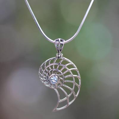 Blue topaz pendant necklace, 'Sparkling Nautilus' - Handcrafted Blue Topaz Nautilus Necklace