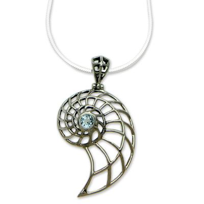 Blue topaz pendant necklace, 'Sparkling Nautilus' - Handcrafted Blue Topaz Nautilus Necklace