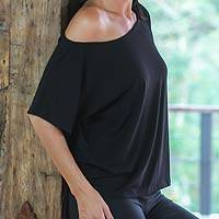 Cotton jersey knit top, 'Black Intensity' - Women's Black Cotton Jersey Knit Top from Bali