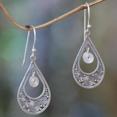 Sterling silver dangle earrings, 'Whirlpool' - Hand Crafted Sterling Silver Dangle Earrings from Bali