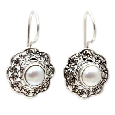 Cultured pearl drop earrings, 'Plumeria Moon' - Hand Made Cultured Pearl Floral Earrings