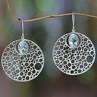 Blue topaz dangle earrings, 'Bubbles' - Modern Hand Made Blue Topaz Earrings from Bali