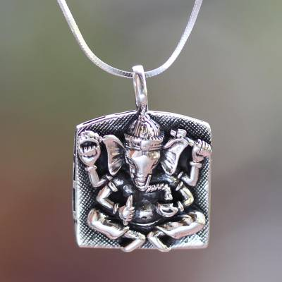 Sterling silver pendant necklace, 'Ganesha in Meditation' - Handcrafted Sterling Silver Ganesha Necklace